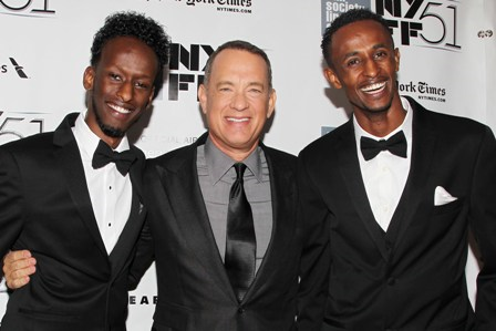 Ahmed with Captain Phillips co-stars Tom Hanks and Mahat M. Ali.