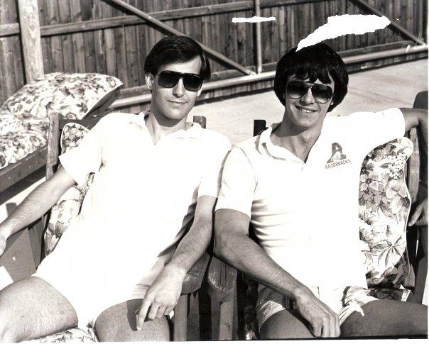James with best friend, Craig, in 1979
