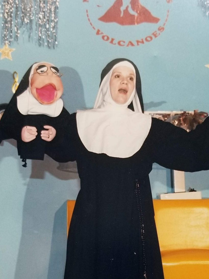 James' wife, Claire, performing in Nunsense